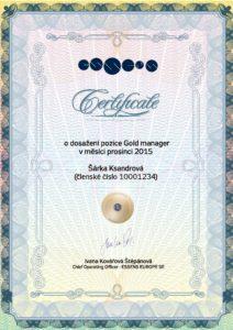 Certificate Gold manager - Šárka Ksandrová, Essens ID: 10001234