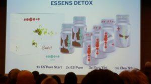 Tříměsíční detoxikační kúra ESSENS Detox je sestavena ze sedmi produktů: 1x ES'Pure Start, 2x ES'Pure, 3x Flow´EN a 1x Clea´NS